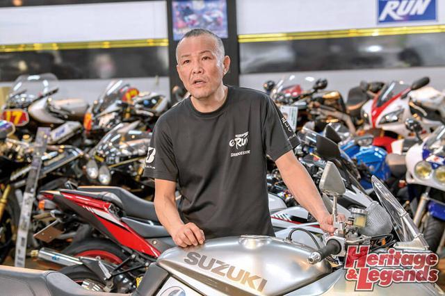 画像: ▲テクニカルガレージ・ランの代表、杉本卓弥さん。同店はスズキ正規ディーラーであり、ニューKATANAも新車を扱う。カタナに関してもここに紹介したようなカスタム化を行っている