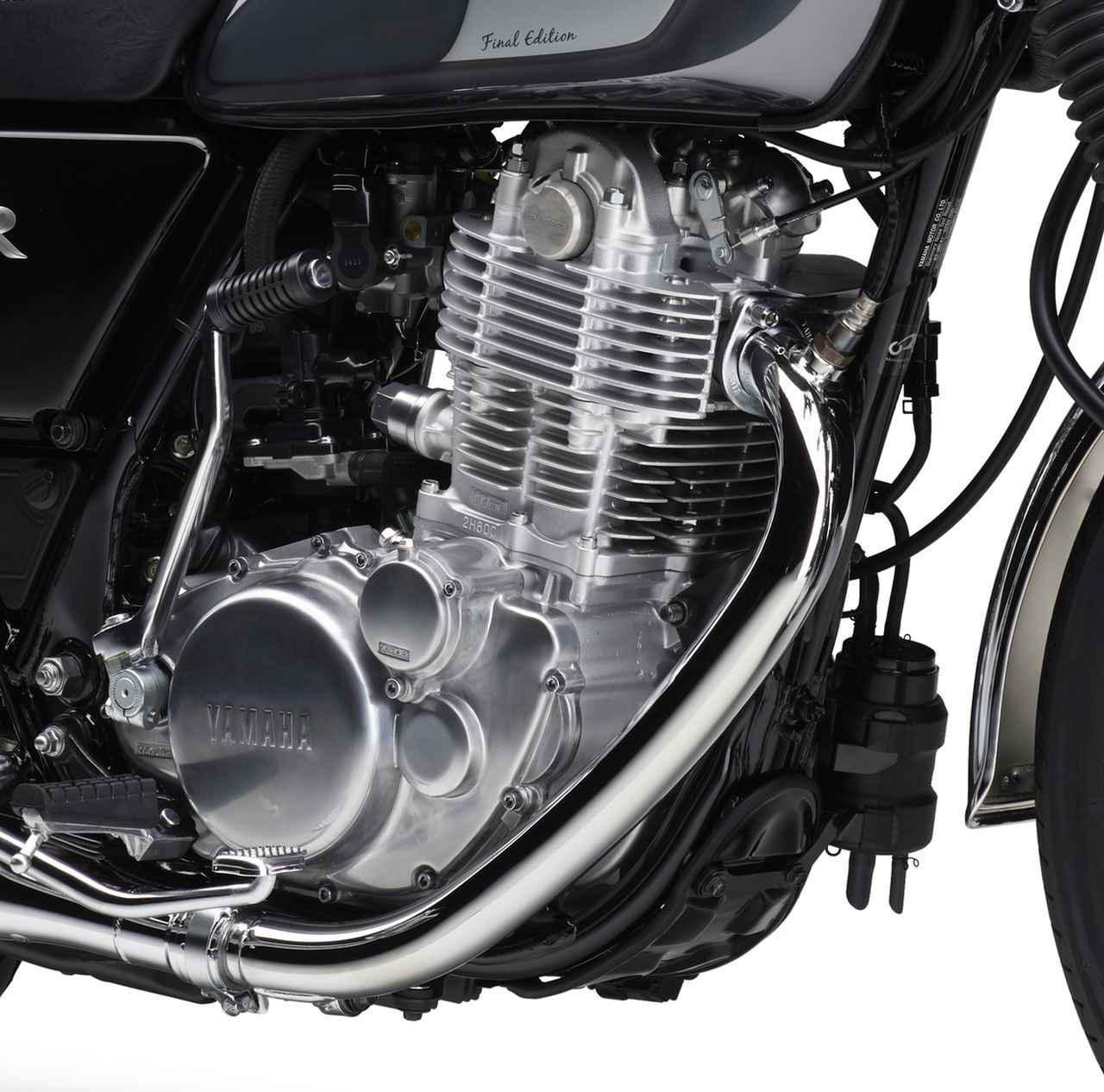 画像: SR400ファイナルエディションのエンジン。写真の右下あたりに備わっているのが排ガス規制に対応するため2018年モデルから装備されたキャニスター。
