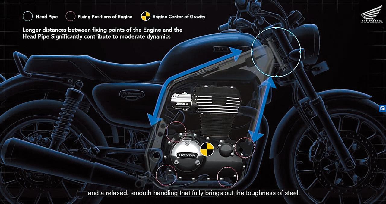 画像: エンジンマウントとヘッドパイプとの距離を長く取るデザインで、十分なスペースを確保し、スムーズなハンドリングにも貢献。