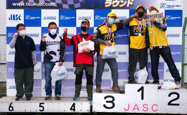 画像: ●B級入賞者 左から6位・井川洋一選手、5位・中川克己選手、4位・池浦彰寿選手、3位・濱田 令選手、1位・木村健太選手、2位・江間 聡選手
