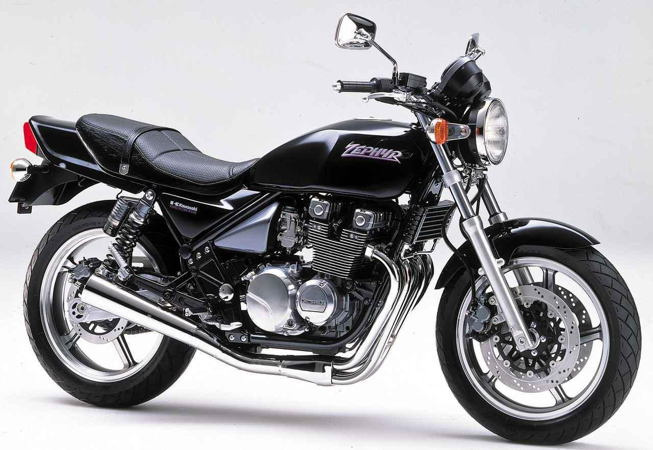 画像: Kawasaki ZEPHYR 1989年4月登場 エンジン形式:空冷4ストDOHC2バルブ並列4気筒 総排気量:399㏄ 最高出力:46PS/11000rpm 最大トルク:3.1kg-m/7500rpm 車両重量:177kg タイヤサイズ:110/80-17・140/70-18 当時の発売価格:52万9000円 83年のGPZ400Fの空冷2バルブ2気筒エンジンをベースに、空冷エンジン、ノンカウル、2本サスのパイプフレームをキーワードに誕生したゼファー。若いファンには新鮮に、オールドファンには懐かしく感じさせ、大ヒットを記録した。