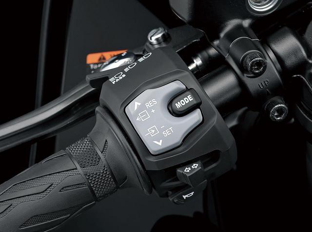 画像: 各種設定、切り替え、選択はハンドル左にある大型のスイッチで行う。スイッチ自体は操作しやすい形状となっている。