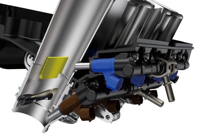 画像: スズキサイドフィードインジェクターの採用で混合気を微細化。充填効率が向上することで、低中速での出力とトルクが2%向上。