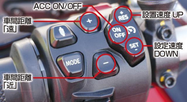 画像: ACCは左手スイッチで各種設定を行う。ACCのオン/オフスイッチでは、30㎞/h~160㎞/hの速度設定も行う。車間距離はその隣の+-ボタンで4段階に調整可能だ。