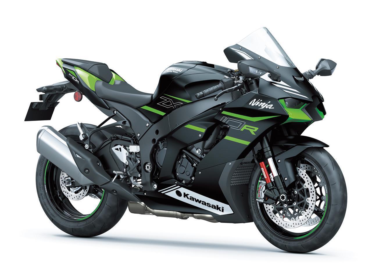 画像: Kawasaki Ninja ZX-10R 2021年モデル 総排気量:998cc エンジン形式:水冷4ストDOHC4バルブ並列4気筒 最高出力:149kW(203PS)/13200rpm ラムエア加圧時156.8kW(213.1PS)/13200rpm シート高:835mm 車両重量:207kg 発売日:2021年5月28日予定 メーカー希望小売価格:税込229万9000円