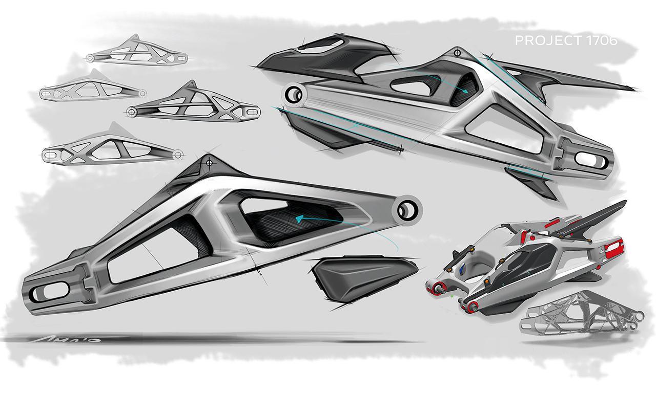 画像: 両持ち構造を採用するアルミ製スイングアームは、大胆に肉抜きされた左右非対称の印象的なデザイン。
