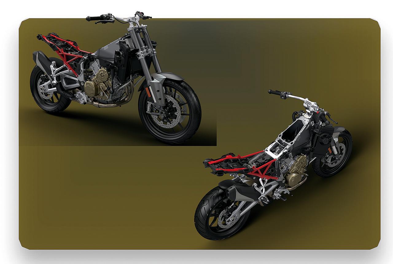 画像: MotoGPマシン譲りの、軽量コンパクトで高剛性なアルミモノコックフレーム。これにスチール製でトレリス構造のシートレールを合体。