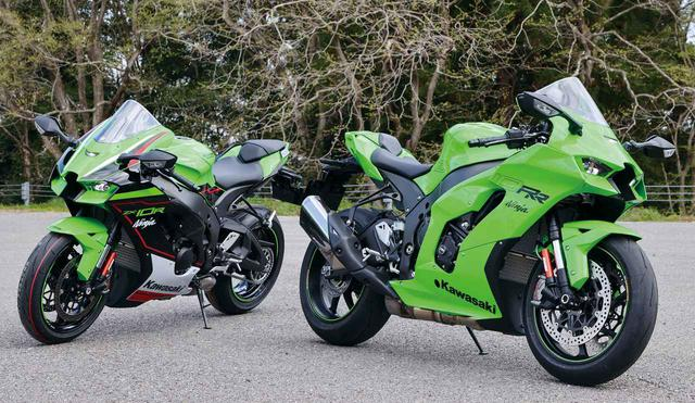 画像: Kawasaki Ninja ZX-10RR (右) 最大出力:204PS/14000rpm 最大トルク:11.4kgf・m/11700rpm カラー:ライムグリーン 発売予定日:2021年6月25日 税込価格:328万9000円