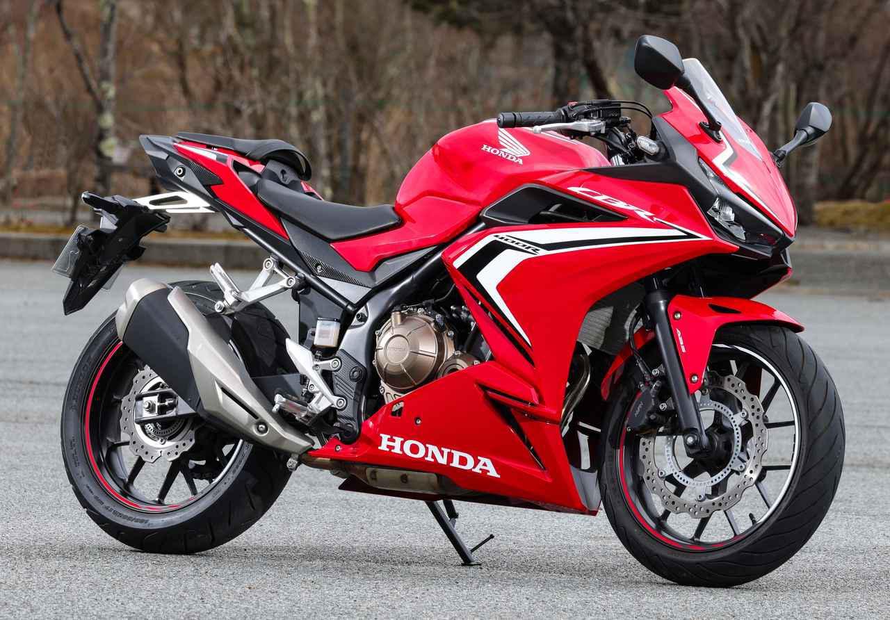 画像: Honda CBR400R 総排気量:399cc エンジン形式:水冷4ストDOHC4バルブ並列2気筒 最高出力:46PS/9000rpm 最大トルク:3.9kgf-m/7500rpm シート高:785mm 車両重量:192kg 税込価格:80万8500円