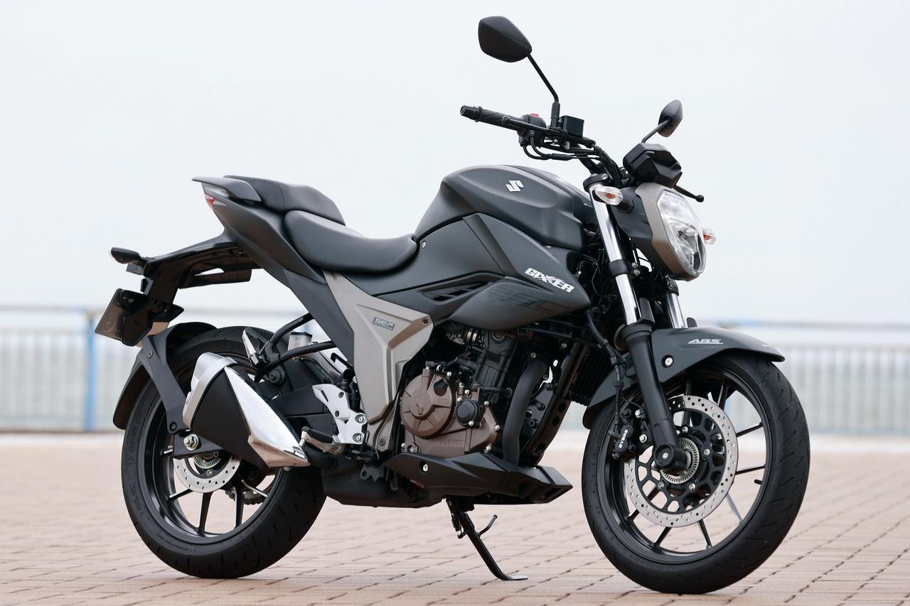 画像: SUZUKI GIXXER250 油冷エンジンを搭載した、ジクサーSF250のネイキッドバージョンにしてジクサー150の兄弟車。SF250よりも4㎏軽量のストリートバイクだ。 ※写真は2020年カラー 総排気量:249cc エンジン形式:油冷4ストSOHC4バルブ単気筒 最高出力:19kW(26PS)/9000rpm 最大トルク:22N・m(2.2kgf・m)/7300rpm 車両重量:154kg 税込価格:44万8800円