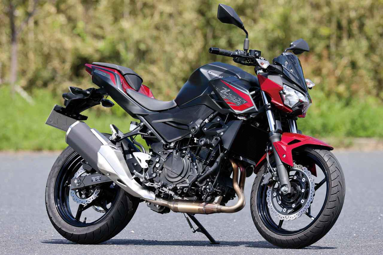 画像: Kawasaki Z250 Ninja250のネイキッドバージョン。フルカウルのNinjaよりもライディングポジションがラクで視界もよく、カタログデータの2kg減よりも軽量に感じる身軽さが人気だ。 総排気量:248cc エンジン形式:水冷4ストDOHC4バルブ並列2気筒 最高出力:27kW(37PS)/12500rpm 最大トルク:23N・m(2.3kgf・m)/10500rpm 車両重量:164kg 税込価格:61万500円