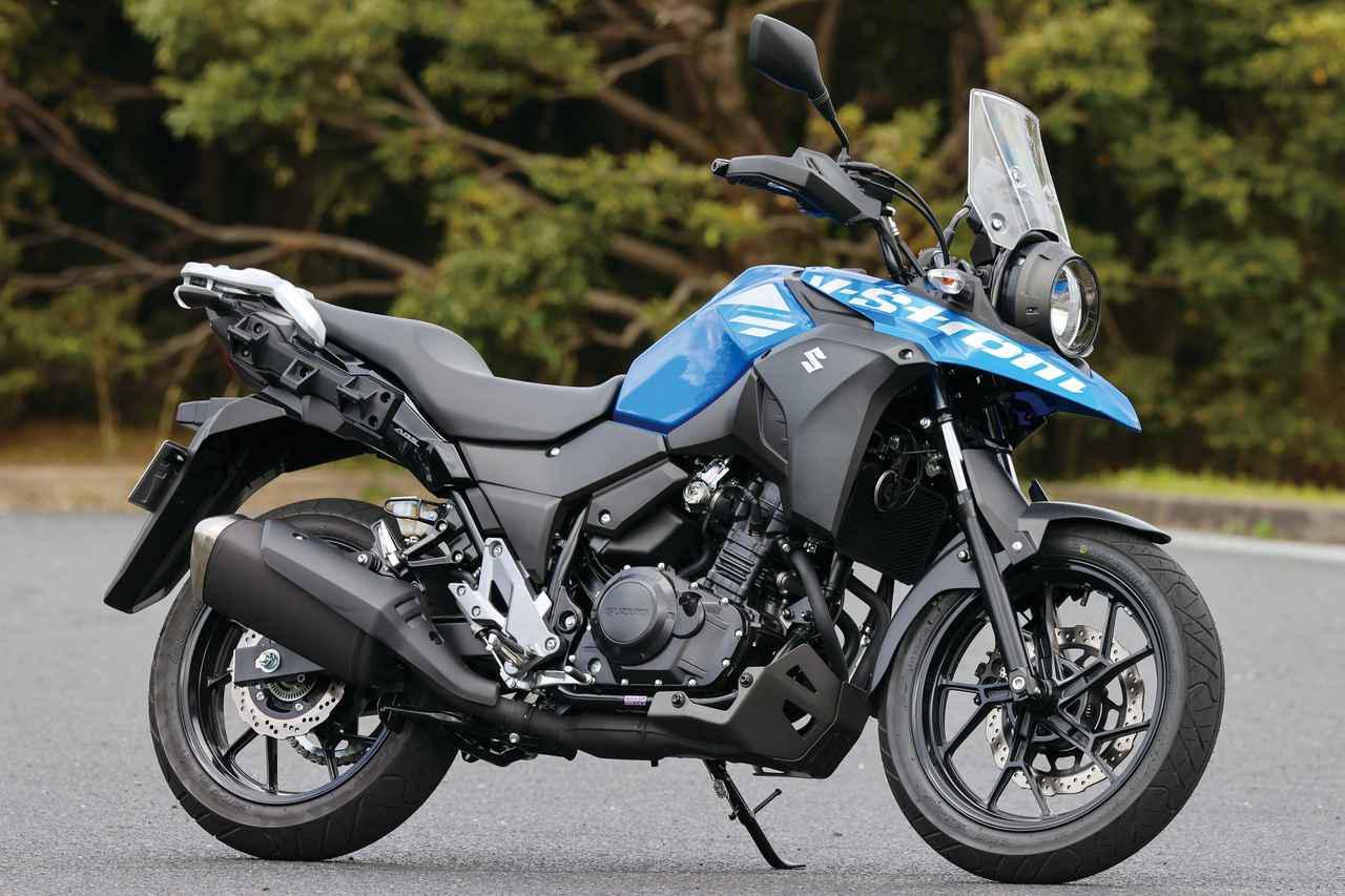 画像: SUZUKI V-Strom250 GSX250Rの車体&エンジンをベースにアドベンチャースタイルとした。前後17インチホイール、穏やかな出力特性と好燃費の2気筒エンジンでロングツーリングにも最適。 総排気量:248cc エンジン形式:水冷4ストSOHC2バルブ並列2気筒 最高出力:18kW(24PS)/8000rpm 最大トルク:22N・m(2.2kgf・m)/6500rpm 車両重量:189kg 税込価格:61万3800円
