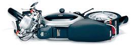 画像: ハンドルとフートレストを折りたたむことで、寝かし置きすることも可能です。 global.yamaha-motor.com