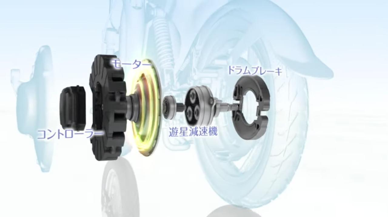 画像: 後輪ハブに、モーター、コントローラー、遊星減速機、そしてドラムブレーキを一体化にておさめたYIPUの構造図。 www.youtube.com