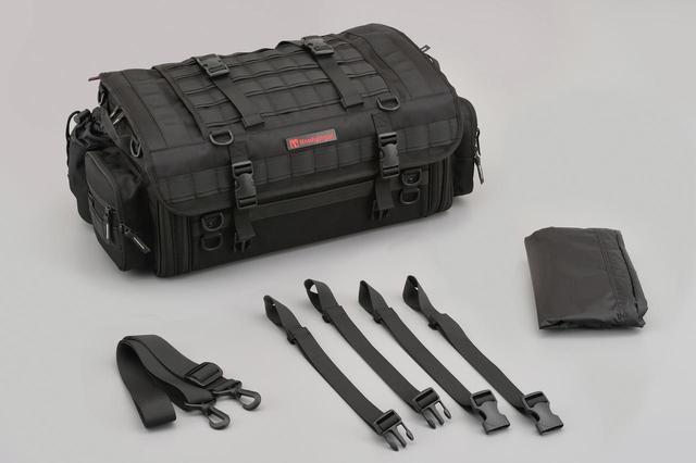 画像: ツーリングシートバッグPRO DH-743 税込価格:2万900円 ハードケースとの相性が良いロー&ワイド [容量]37〜44L [サイズ]本体:H230×W500〜620×D300(mm)※サイドポケット部除く。 [最大積載重量]10kg [本体重量/付属品込]3.3kg [付属品]固定ベルト、ショルダーベルト、レインカバー
