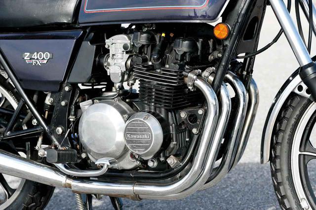 画像: ボア55×ストローク52.4mmのZ500用エンジンを、ボア52×ストローク47mmとして399cc化。DOHC2バルブ空冷4気筒という基本構造は共通。