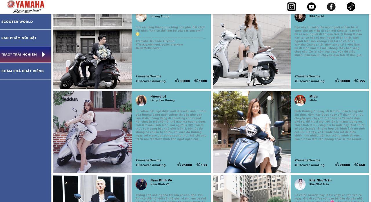 画像: ヤマハ・モーター・ベトナムのウェブサイトより。俳優などインフルエンサーを使って、ヤマハ製スクーターの魅力をアピールしています。日本よりも、はるかにプロモーションにお金かかっている感があります・・・。 newmediscover.yamaha-motor.com.vn