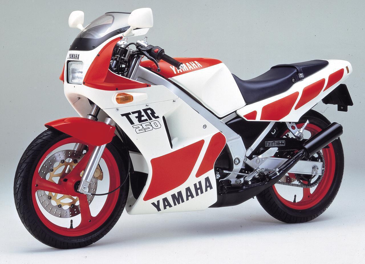 画像: YAMAHA TZR250 1986年登場 総排気量:249cc エンジン形式:水冷2ストクランクケースリードバルブ並列2気筒 乾燥重量:126kg 当時価格:54万9000円