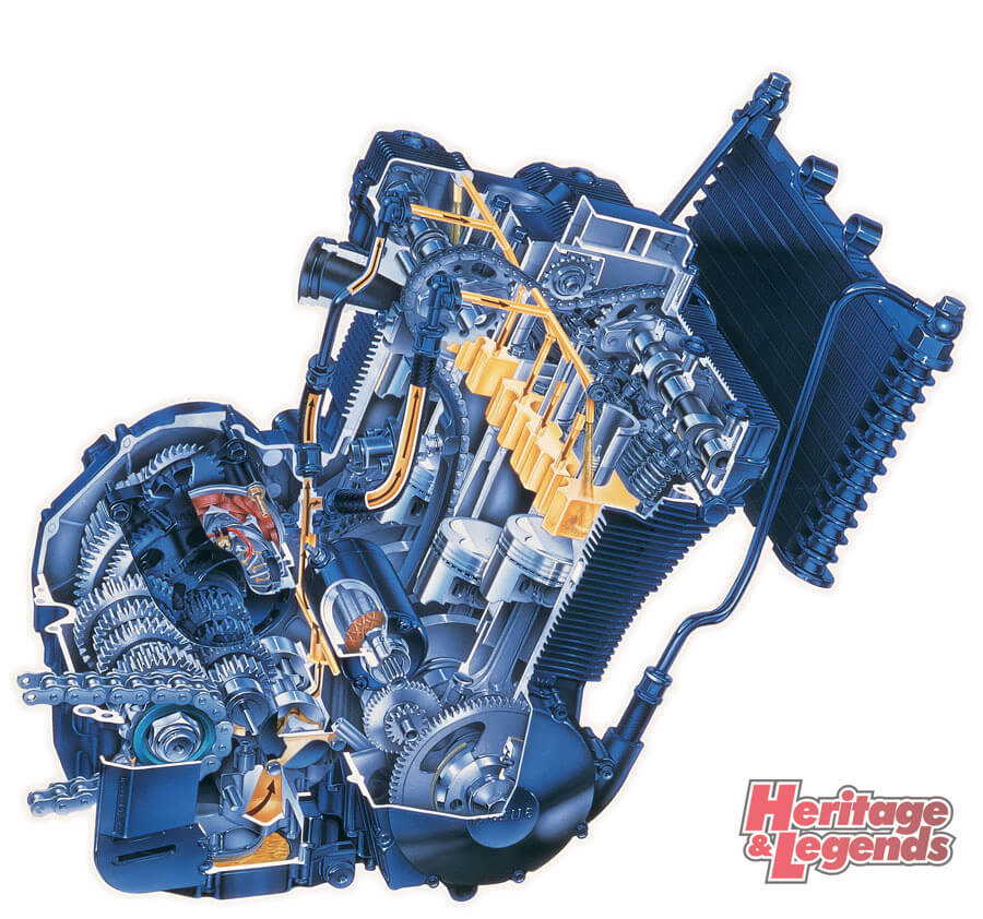 画像1: 水冷よりも軽く空冷より冷却性とパワーに優れた初代油冷エンジン