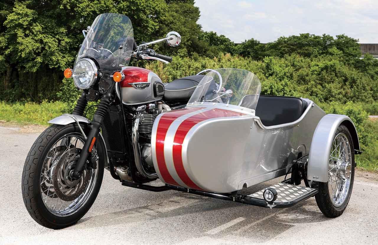 画像: SAKUMA ENGINEERING BONNEVILLE T120 SIDE CAR 総排気量:1200cc エンジン形式:水冷4ストOHC4バルブ並列2気筒 車両重量:390kg
