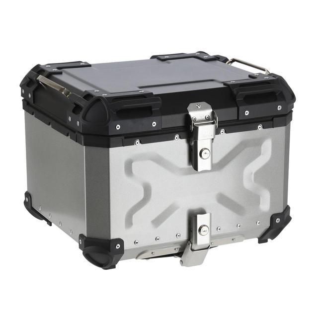 画像: HARD WORX トップケース HX55 55L 税込価格:3万6300円 カラー:シルバー、ブラック 容量:55L 外寸:460×405×345mm 重量:8.6kg(ベースプレート+本体) 付属品:六角ボルト(短)×4本、六角ボルト(長)×4本、ワッシャー×4枚、ナット×4個、鍵×2本、プレート×4枚、ベースプレート×1枚、取扱説明書、リフレクター×2枚 ※取り付けの際は4mmの六角レンチが必要です。