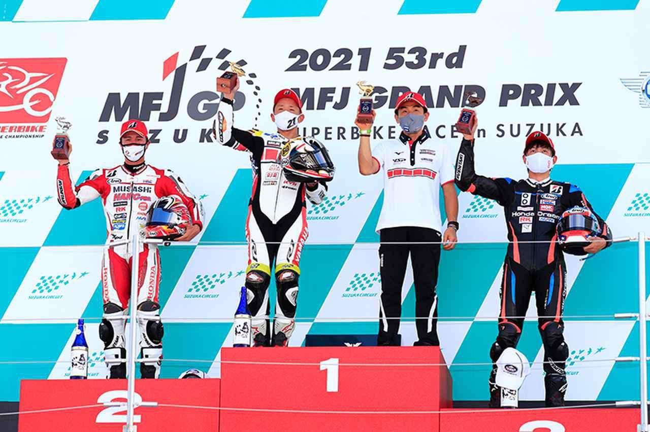 画像: JSB1000クラス、レース1の表彰台。(写真/鈴鹿サーキット)