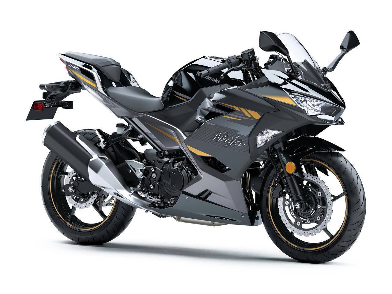 画像: Kawasaki Ninja400/KRT EDITION 総排気量:398cc エンジン形式:水冷4ストDOHC4バルブ並列2気筒 シート高:785mm 車両重量:167kg 発売日:2021年9月10日・10月15日 税込価格:72万6000円 ※写真は、Ninja400 メタリックマグネティックダークグレー×メタリックスパークブラック