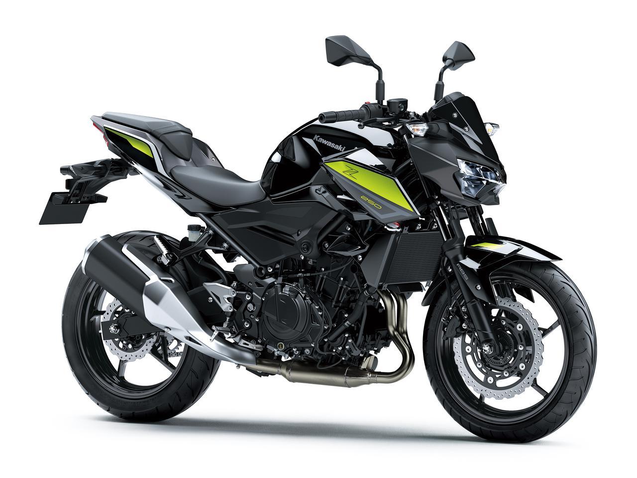 画像: Kawasaki Z250 総排気量:248cc エンジン形式:水冷4ストDOHC4バルブ並列2気筒 シート高:795mm 重量:164kg 発売日:2021年9月10日 税込価格:61万500円