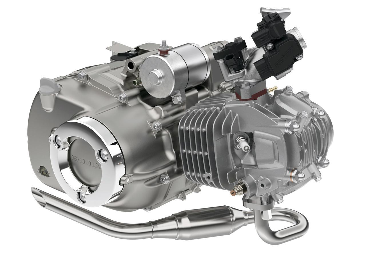 画像: 125ccユニット ハンターカブとC125に搭載されるエンジンは吸排気系が異なる。ハンターのほうが低回転に強く、C125のほうが高回転が伸びるエンジン設定となっている。