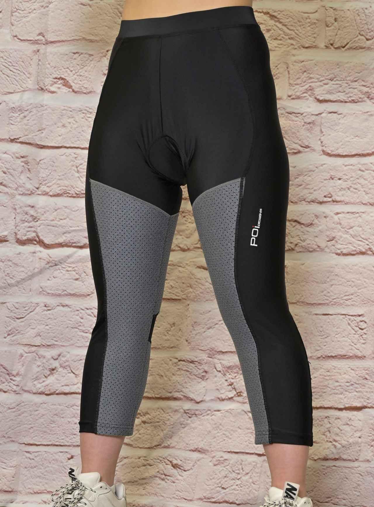 画像: 黒い部分が伸縮性の高い素材で、グレーの部分が遮熱素材。着用中に脚の曲げ伸ばしに違和感を感じることはなかった。
