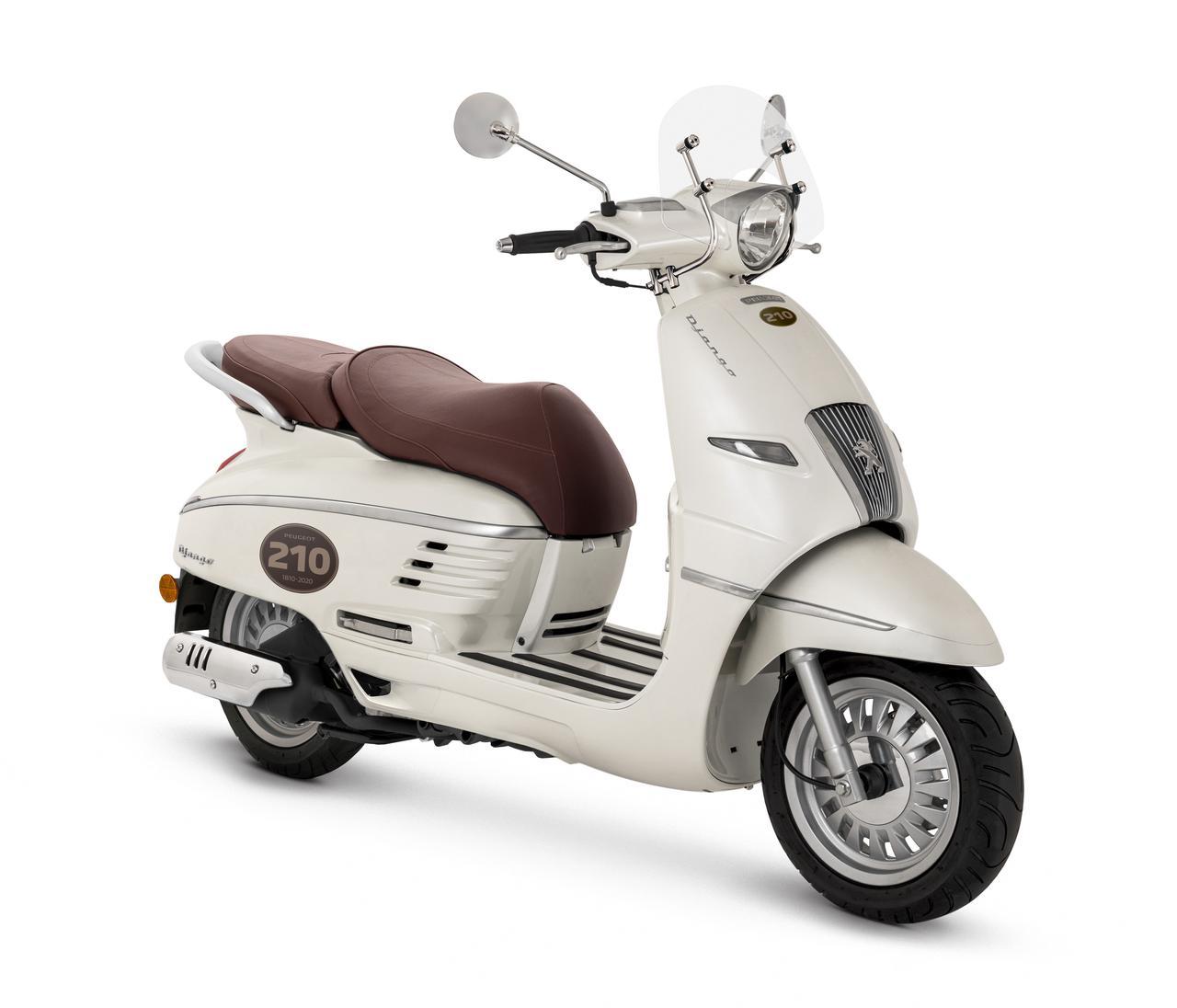画像: PEUGEOT MOTOCYCLES DJANGO125 Classic ABS 総排気量:125cc エンジン形式:空冷4ストOHC2バルブ単気筒 シート高:770mm 乾燥重量:129kg 受注開始日:2021年7月30日(金) 発売予定時期:2021年10月初旬 税込価格:43万7800円