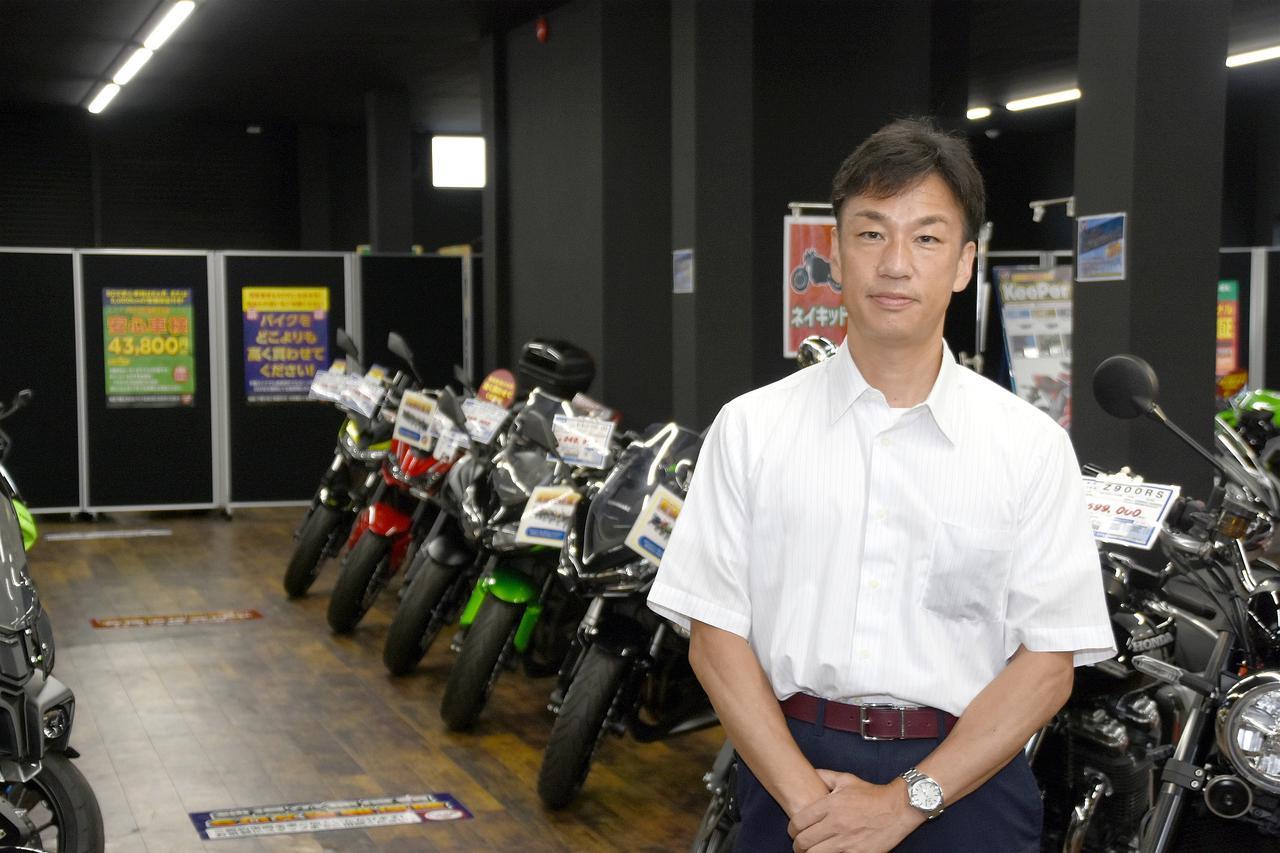 画像: お話を伺った営業本部 商品部 部長の瀬尾隆久さん。ご自身もカワサキZEPHYRのオーナーなんだそう!