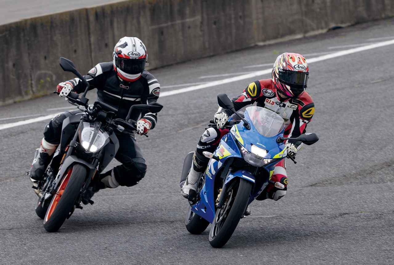 画像1: 福田充徳さんがサーキット試乗したのは「GSX-R125」と「125 DUKE」