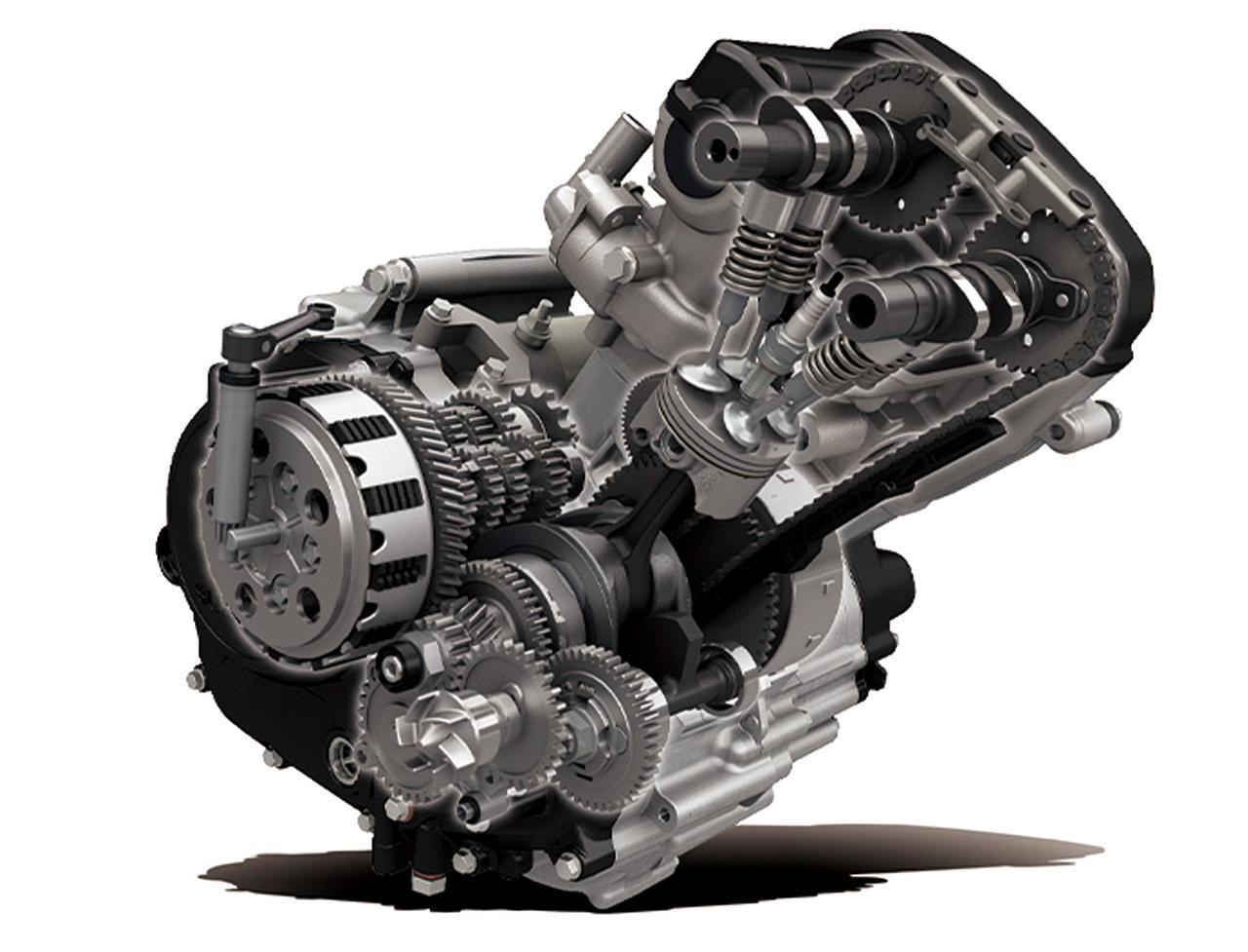画像: 水冷DOHC4バルブ単気筒エンジンは、力強い加速と高い燃費性能を実現。スズキ独自のメッキシリンダーを採用し、耐摩耗性にも優れる。