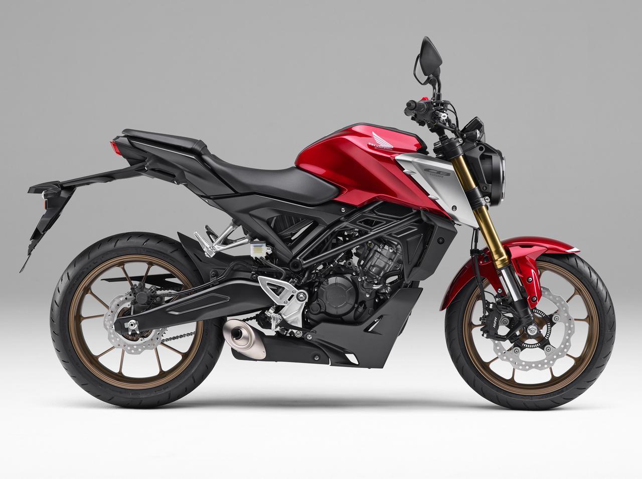 画像: Honda CB125R ホンダからリリースされている、CB1000Rを頂点とする新世代CBシリーズのエントリーモデル。2021年4月にモデルチェンジを受け、DOHC4バルブエンジンを搭載し、厳しい排ガス規制に対応しながらも最高出力を15PSにまで高められた。フロントにはCB650Rなどに採用されている、SHOWA製SFF−BPフォークを新たに採用するなど、上級装備が惜しみなく投入された最新モデル。 総排気量:124cc エンジン形式:水冷4ストDOHC4バルブ単気筒 シート高:815mm 車両重量:130kg 税込価格:47万3000円