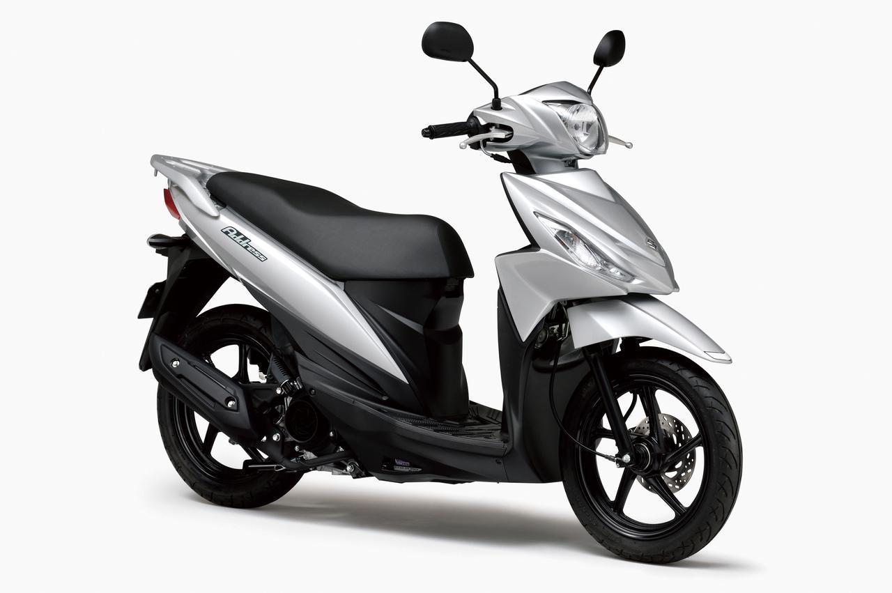 画像: SUZUKI ADDRESS 110 総排気量:112cc エンジン形式:空冷4ストSOHC2バルブ単気筒 シート高:755mm 車両重量:100kg 税込価格:22万5500円