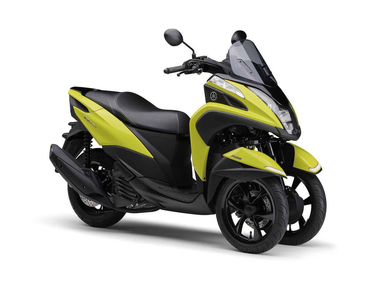 画像: YAMAHA TRICITY 125 / ABS 総排気量:124cc エンジン形式:水冷4ストSOHC4バルブ単気筒 シート高:765mm 車両重量:159kg / 164kg(ABS) 税込価格:42万3500円 / 46万2000円(ABS)