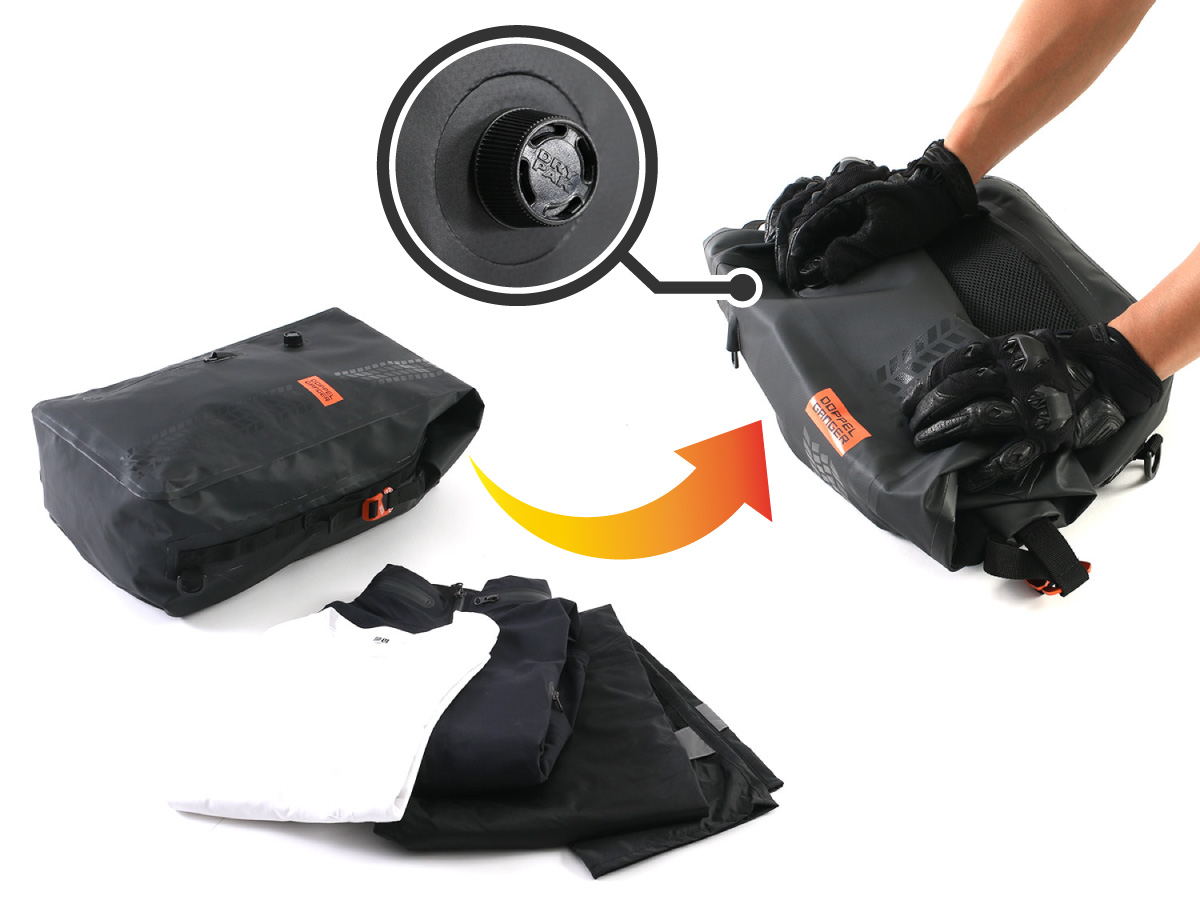 画像: バッグ内にたまった空気を排出するエアバルブが装備され、圧縮バックとしての使用も可能。