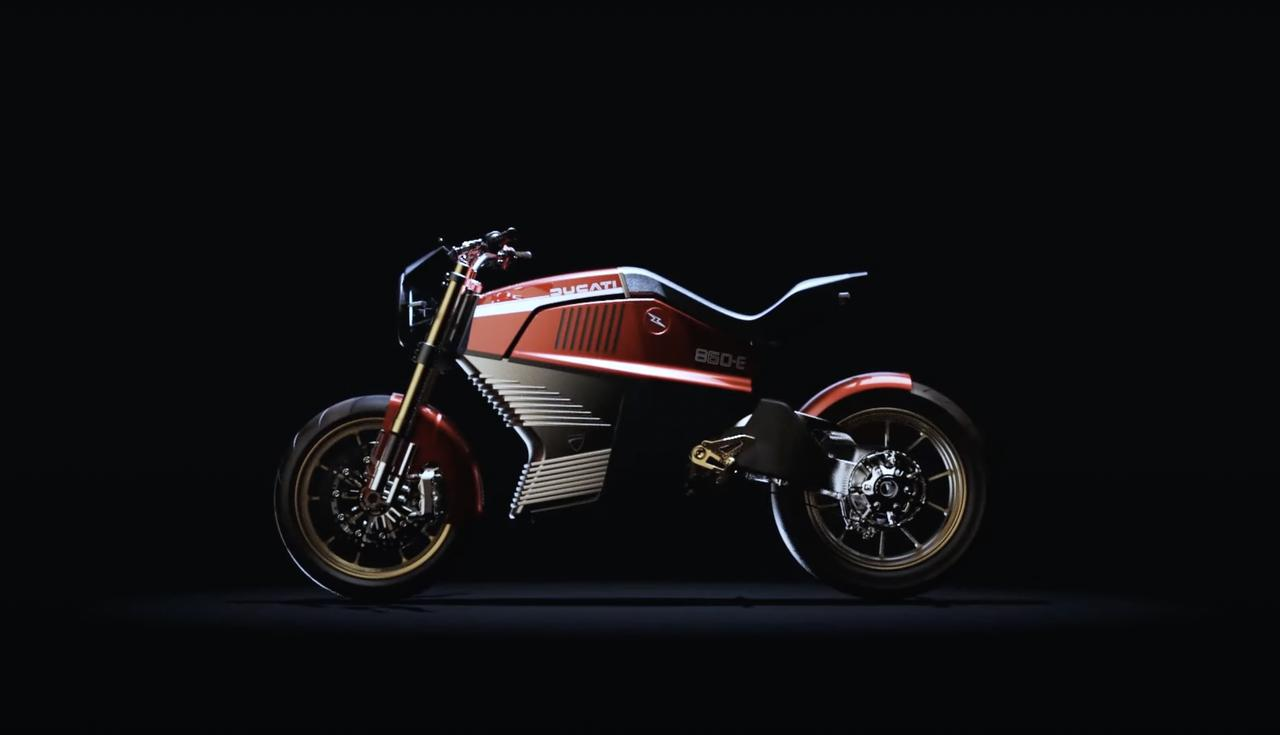 画像: イタルデザインによる、ドゥカティ860-Eコンセプト。車体側面とバッテリー部? の「スリット」など、そのシルエットがかつての860GTの面影を思い出させます・・・。 www.youtube.com
