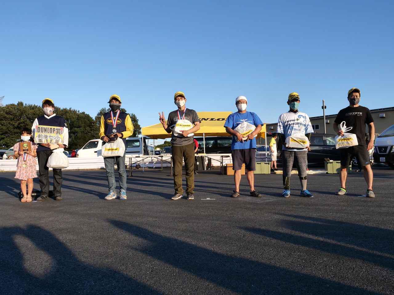 画像: オートバイ杯第3戦のA級入賞者 左から1位・冨永選手、2位・中嶋選手、3位・廣瀬選手、4位・角谷選手、5位・辻家選手、6位・大瀧選手