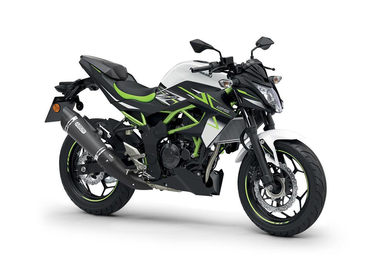 画像: Kawasaki Z125 Performance 欧州仕様車 総排気量:125cc エンジン形式:水冷4ストDOHC4バルブ単気筒 シート高:815mm 車両重量:147kg 写真のカラーはパールフラットスターダストホワイト×メタリックスパークブラック