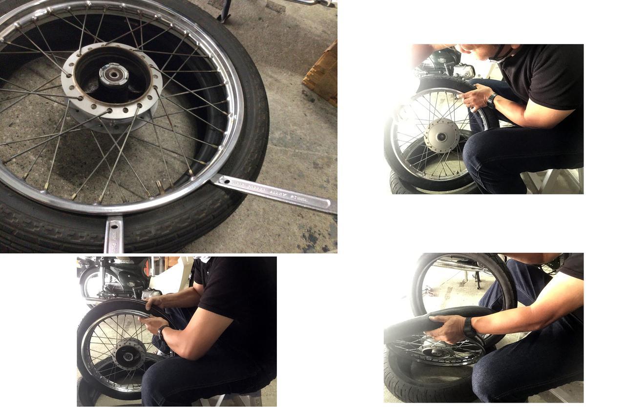 画像: タイヤ外しは①バルブからなるべくエア抜き ②大写真みたいにタイやレバー使ってミミ出ししてタイヤをホイールから外す ③右下写真みたいにタイヤ抜いてチューブを露出させる