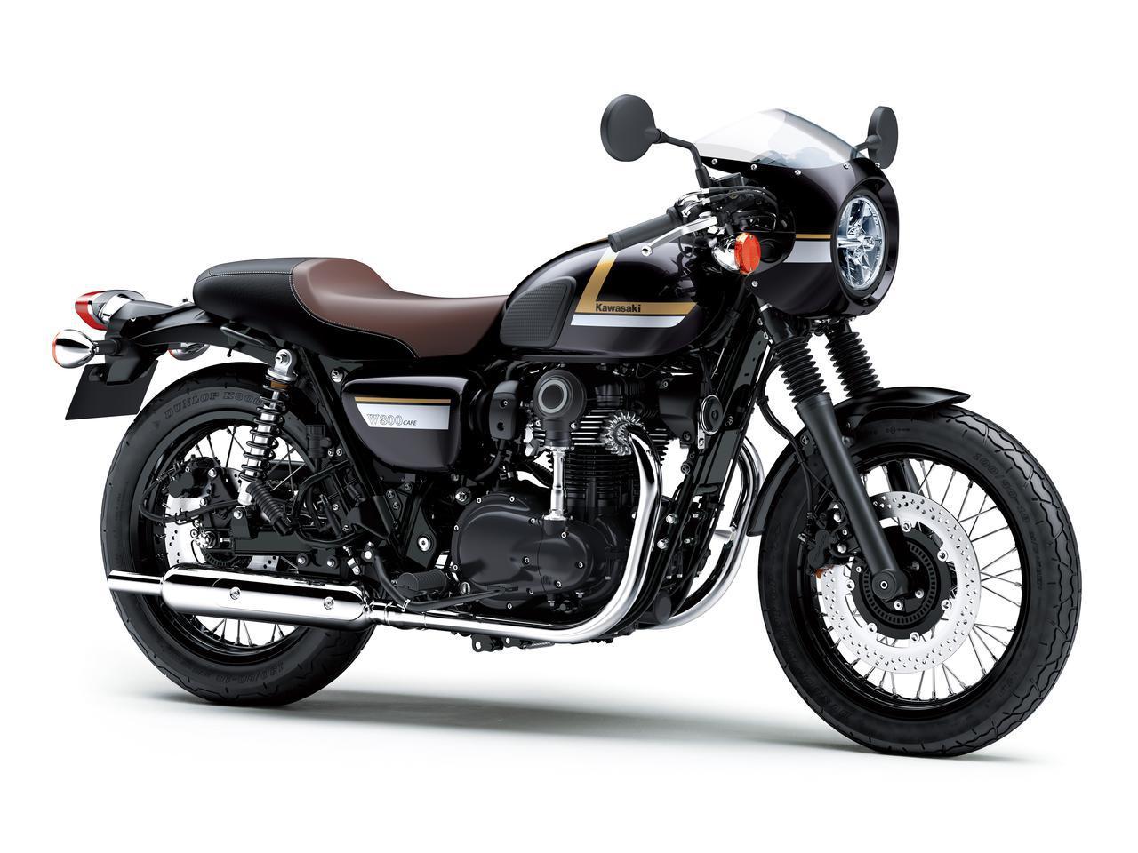 画像: Kawasaki W800 CAFE 総排気量:773cc エンジン形式:空冷4ストSOHC4バルブ並列2気筒 シート高:790mm 車両重量:223kg 発売日:2021年12月17日(金) 税込価格:121万円