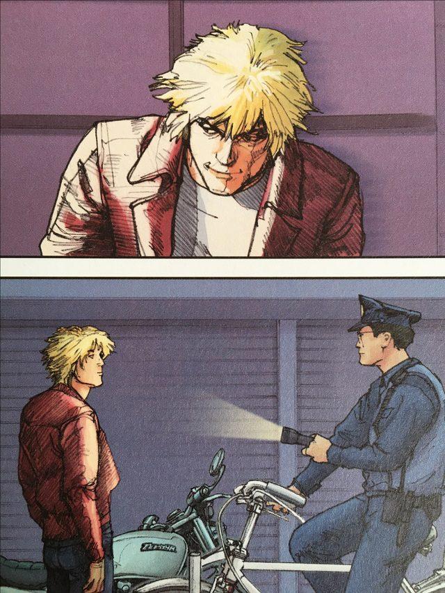 画像: バイクに目が止まって佇む彼を警官が不審げな視線を送る