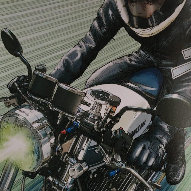 画像: 覚醒した彼女が走らせるマッハは、セパハンで、ブレーキのマスターシリンダーもフロント・リヤとも設置されている。 (©東本昌平先生/モーターマガジン社)