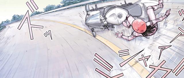 画像: 乗り手は女だった。無理をしてこけてしまう。 ©東本昌平先生/モーターマガジン社