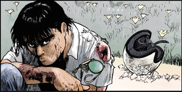 画像: 傷だらけになりながら、悔しげに唇を噛むキリン ©東本昌平先生/モーターマガジン社
