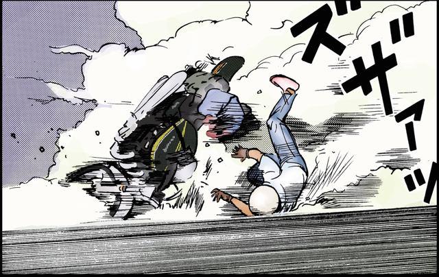 画像: 911が作る砂けむりに邪魔されて転倒してしまうキリン ©東本昌平先生/モーターマガジン社