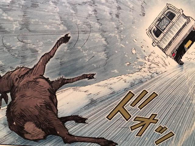 画像: なんと、道を横切る鹿と激突してしまったのだ!