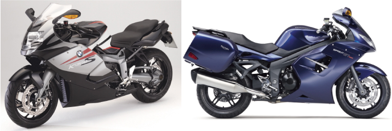 画像: (左)BMW K1300S(右)TRIUMPH SPRINT GT/©モーターマガジン社